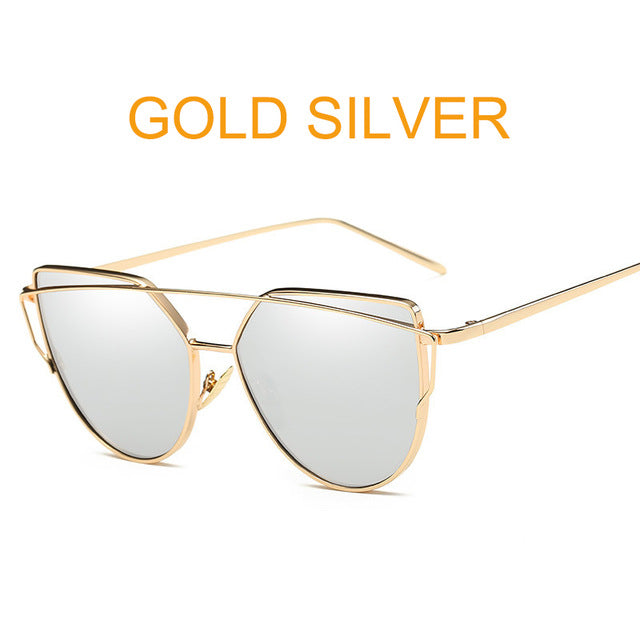 CAT EYE MIRROR SUNGLASSES FOR LADIES! METAL REFLECTIVE FLAT LENS