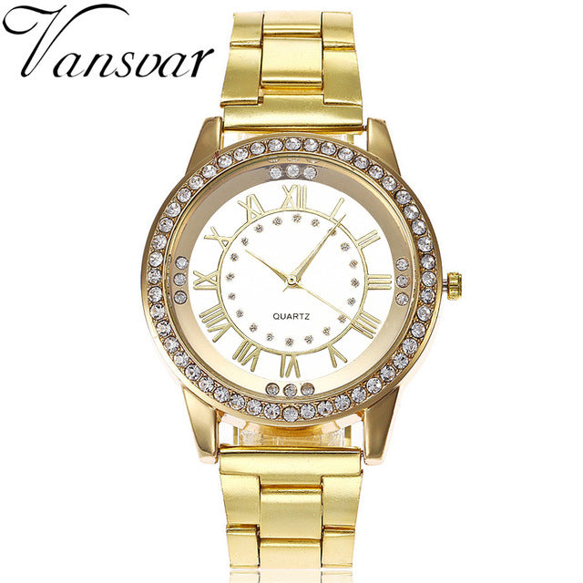 Chilazexpress Vansvar Brand Rose Gold Watch Luxury Women Dress Rhinestone Quartz Watch Casual Women Stainless Steel Wristwatches Female Clock