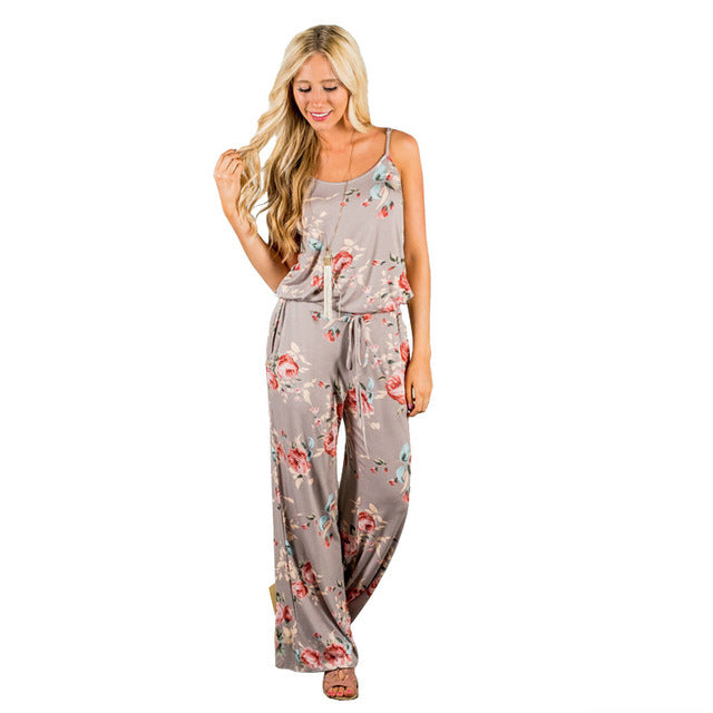 SPAGHETTI STRAP FLORAL JUMPSUIT