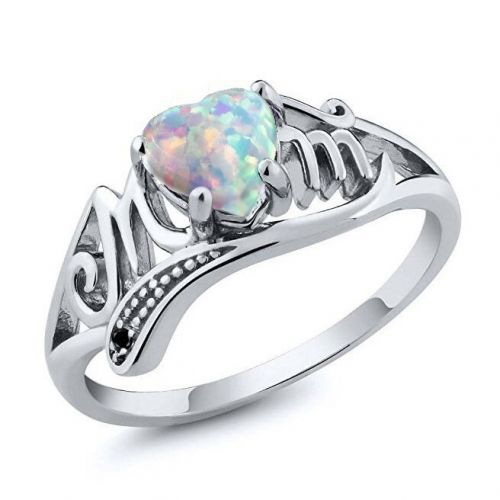 Rainbow heart opal ring