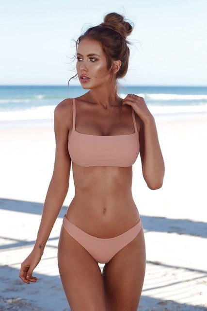 Simple Classic High Waist Push Up Bikini Set