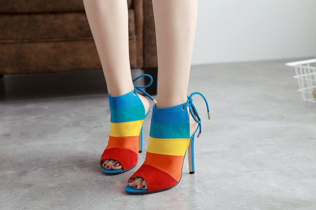 Rainbow color high heels