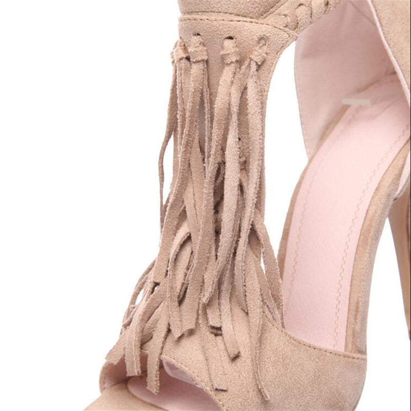 Tassel retro high heels Sandals