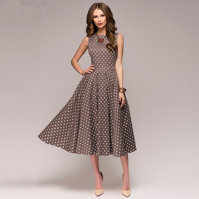 Vintage dress sleeveless O-neck dot printing Mid-Calf casual dress Female