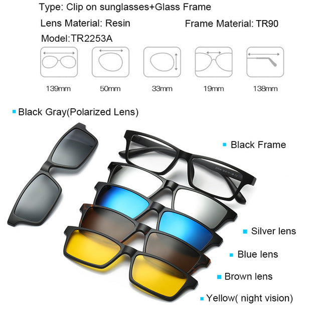 5 in 1 Magnetic Lens Swappable Sunglasses