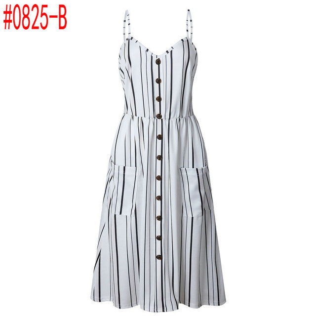 Casual V Neck Striped Buttons White Blending Mid Calf Dress