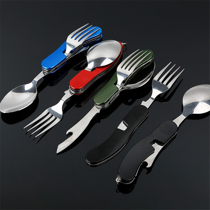 4 in 1 Outdoor Tableware (Fork/Spoon/Knife/Bottle Opener) Camping Stainless Steel Folding Pocket Kits for Hiking Survival Travel