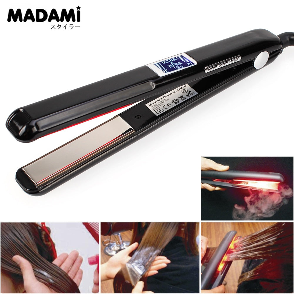 Madami LCD Ultrasonic Infrared Hair Straightener Iron