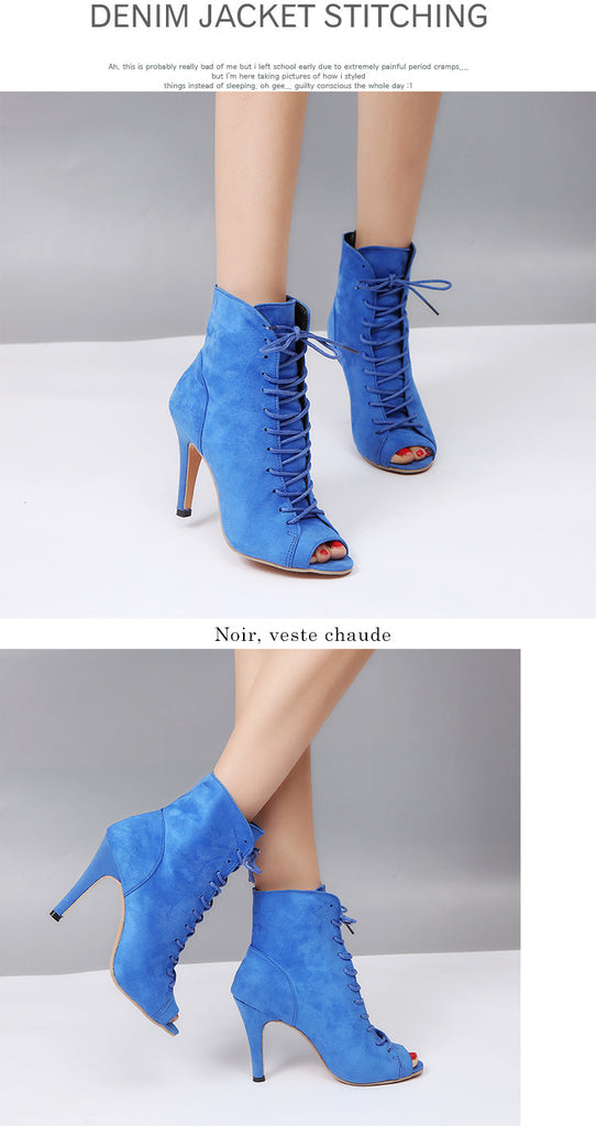 Suede Mesh Peep Toe High Heels