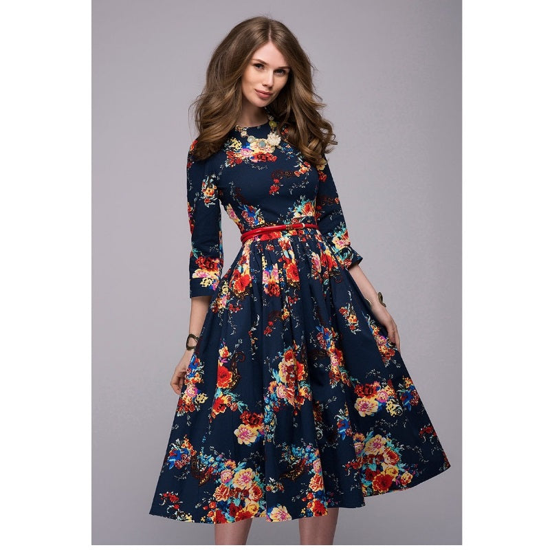 Modest Style Three Quarter Sleeve Elegant Floral Printing Midi Dress