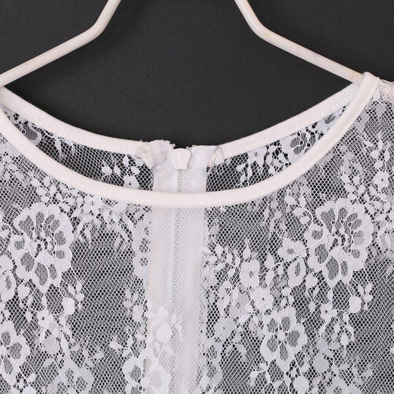 Women summer short sleeve elegant lace crop top