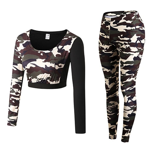 Women's Camouflage Compressed Yoga Workout Clothes
