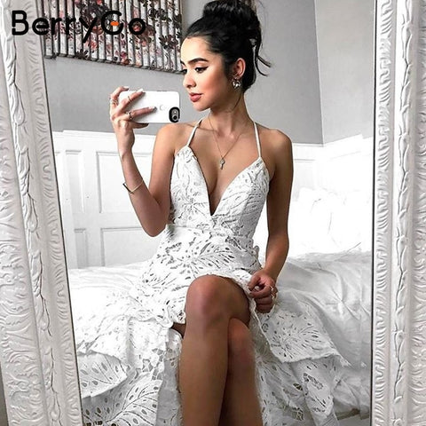 Sexy backless boho lace dress