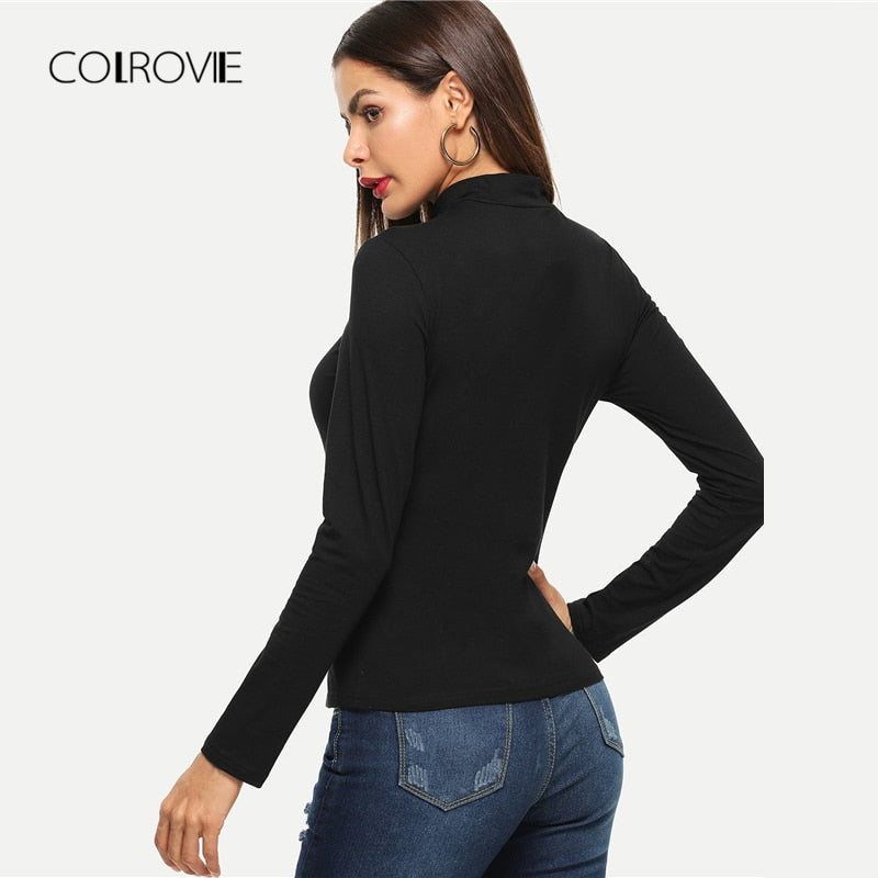 Black Cut out Elegant Long Sleeve Women Tops