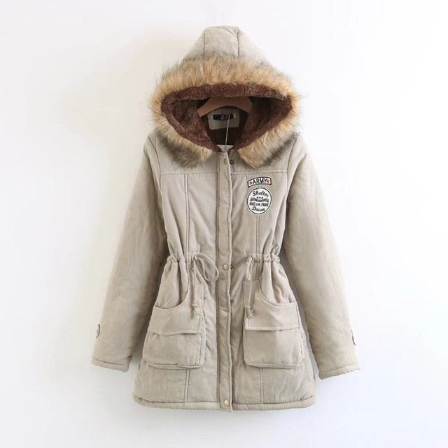 Military women hooded coat