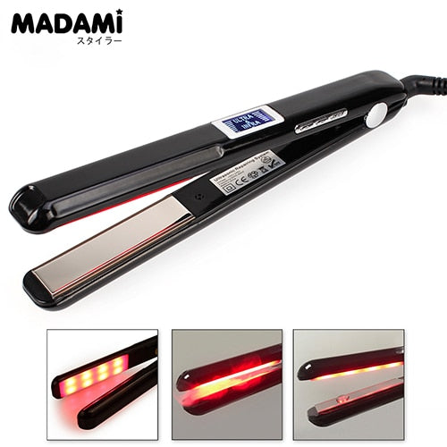 Madami LCD Ultrasonic Infrared Hair Straightener Iron Black