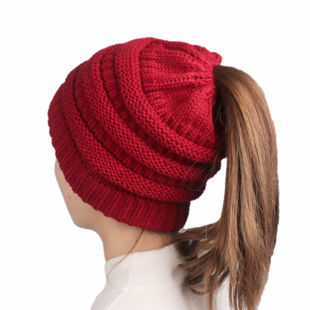 Ponytail Beanie Hat Beanie for Ponytails