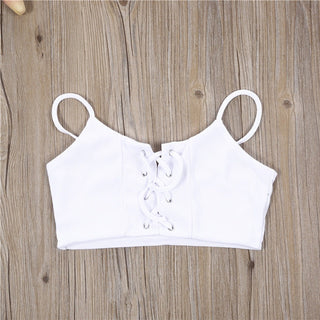 Women's casual bandage lace up cami crop top