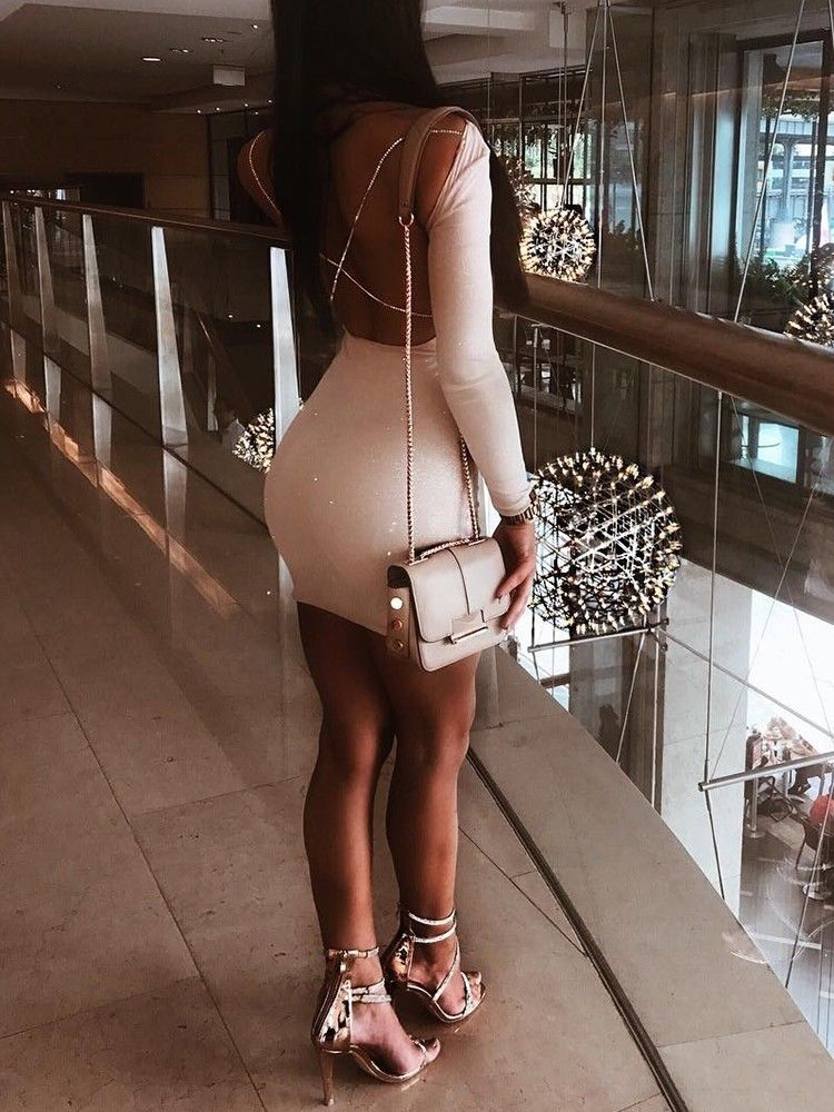 Backless long sleeve short cocktail party dress