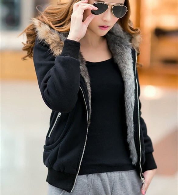 Women Fur Hooded Coat