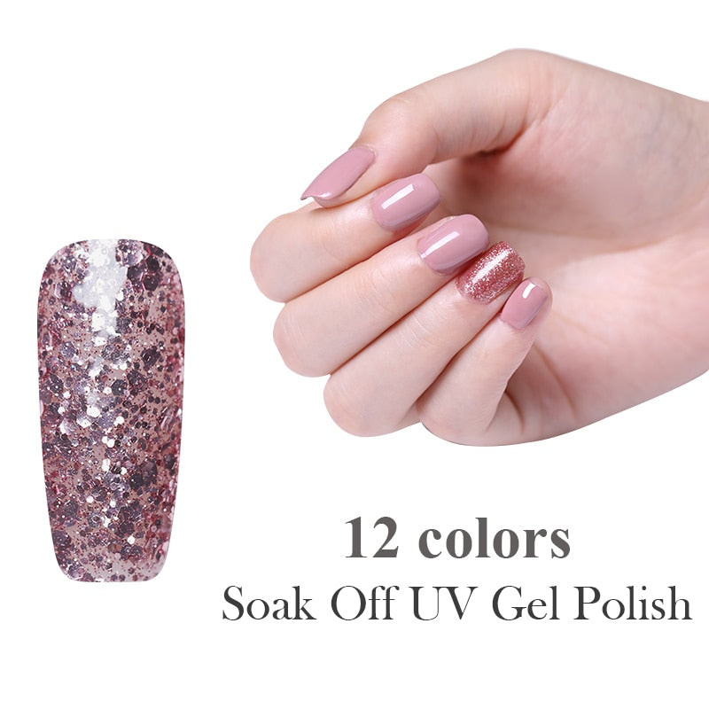 UV Gel Nail Polish Rose Gold Glitter