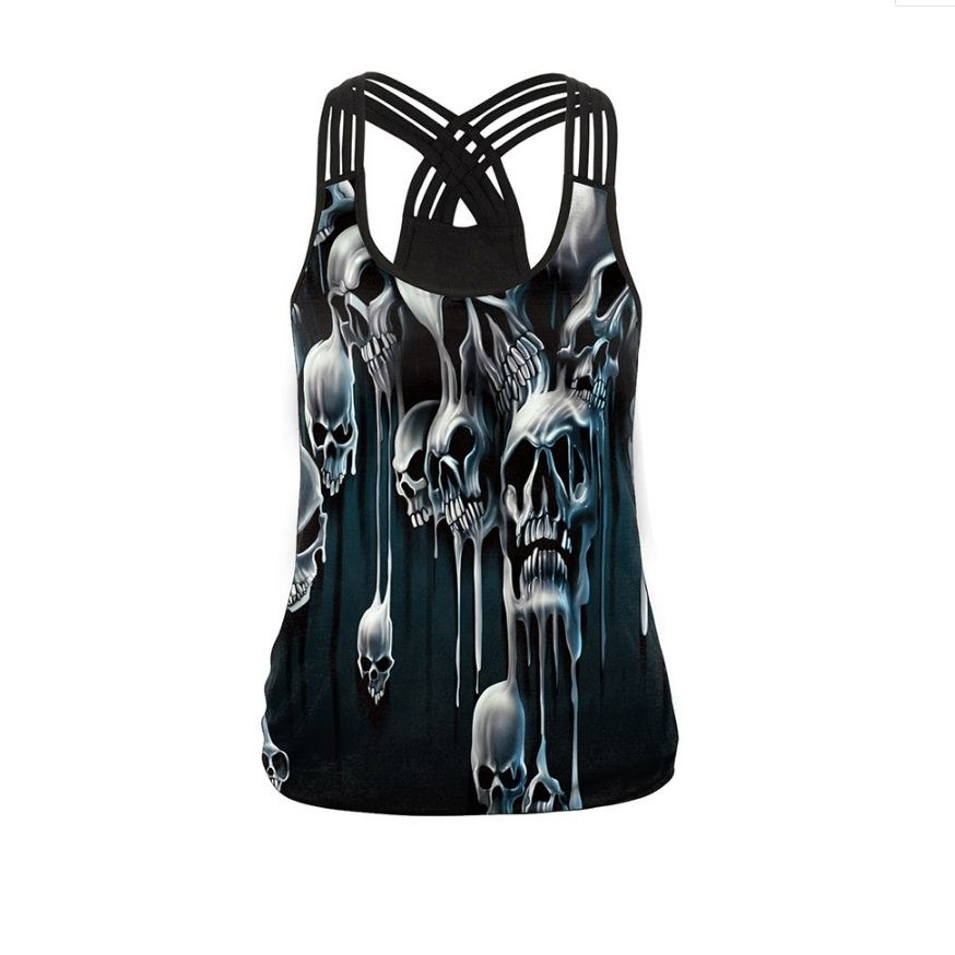 Women's Skull Ghost Print Tank Tops