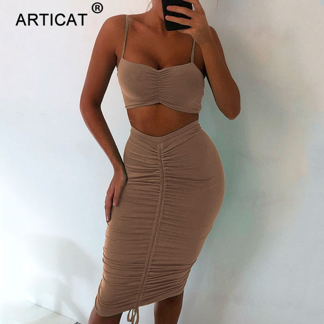 Two Piece Sexy Pleated Party Dress
