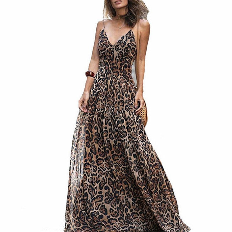 Leopard printed v-neck long dress