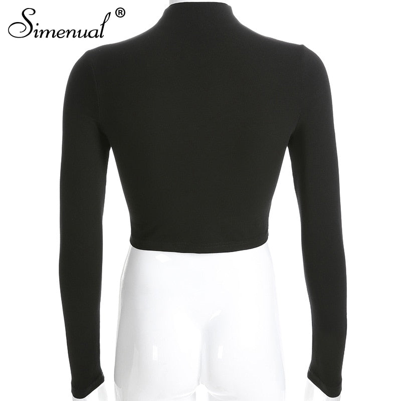 Choker cut sexy long sleeve crop top