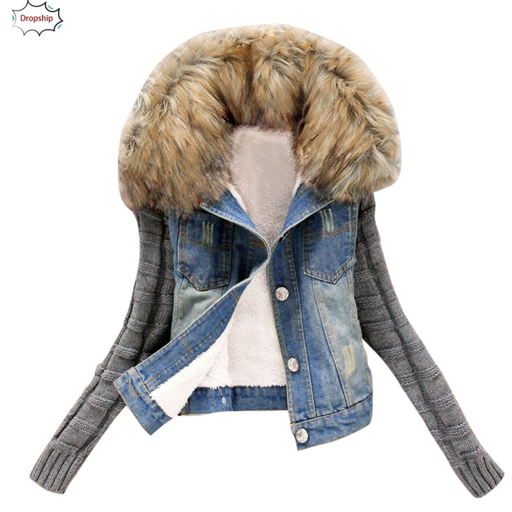 Cowboy denim knitted women's winter jacket