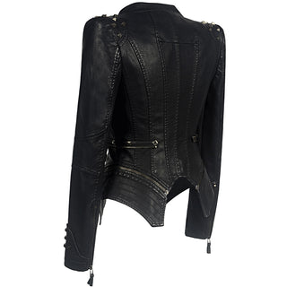 Women gothic faux leather jacket