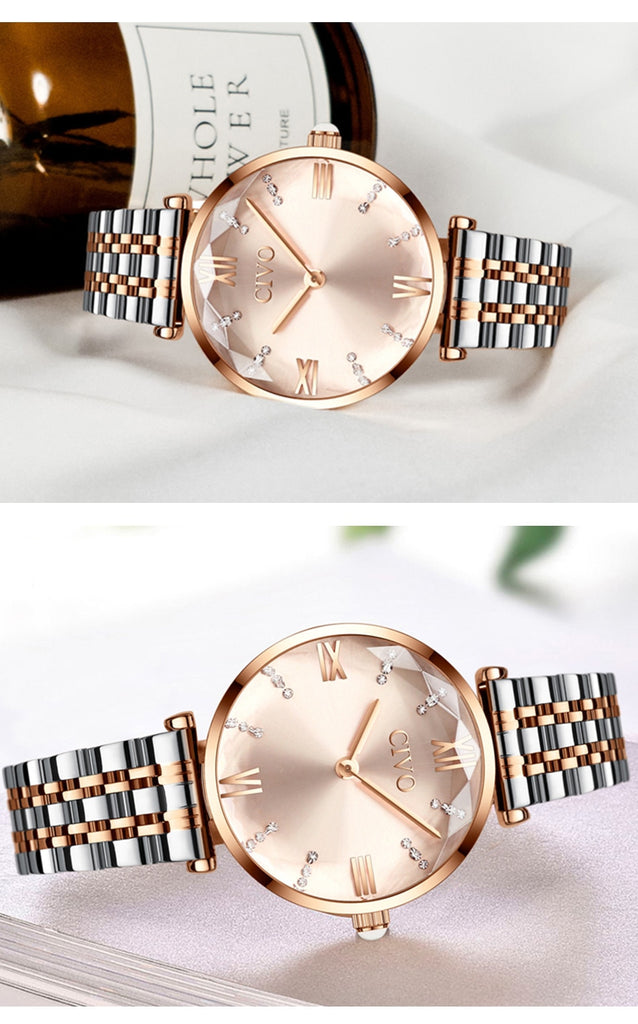 Crystal quartz women's wrist watch