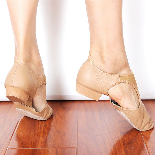 Leather Stretch Jazz Dance Shoes