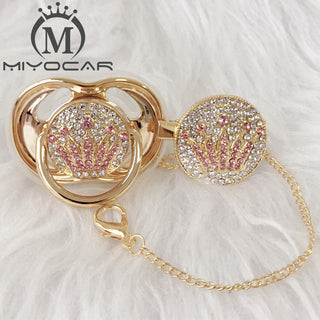 Unique gold pink crown pacifier and clip