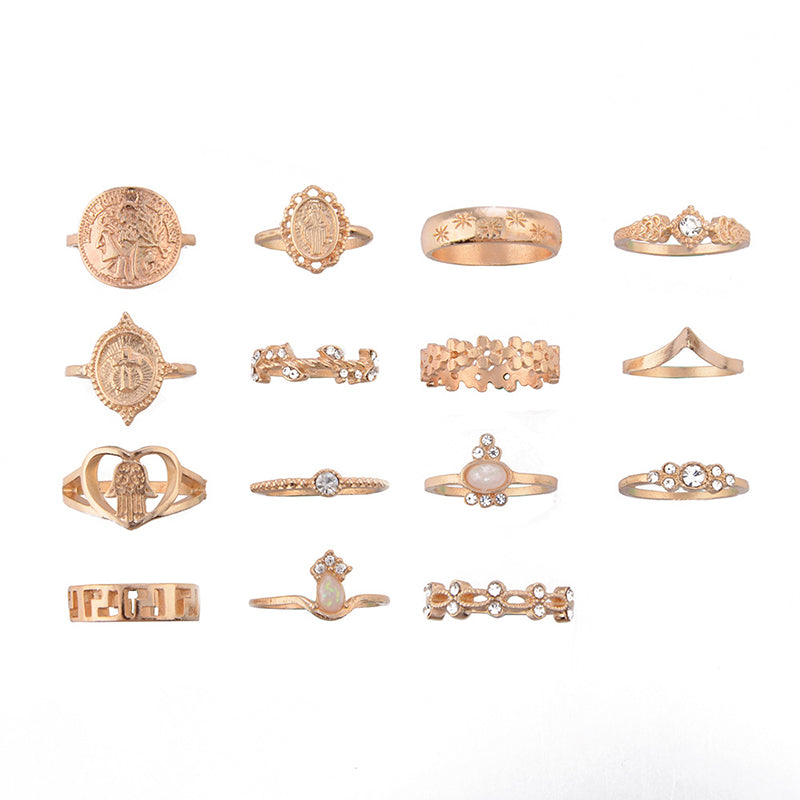 5pcs/set Cross Fatima Hand Punk Ring Sets