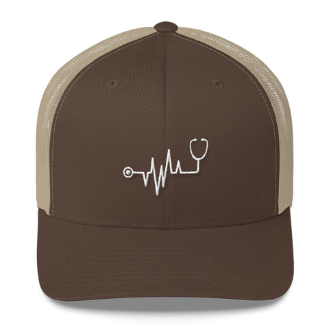 Men's ECG Heartbeat Stethoscope Trucker Cap