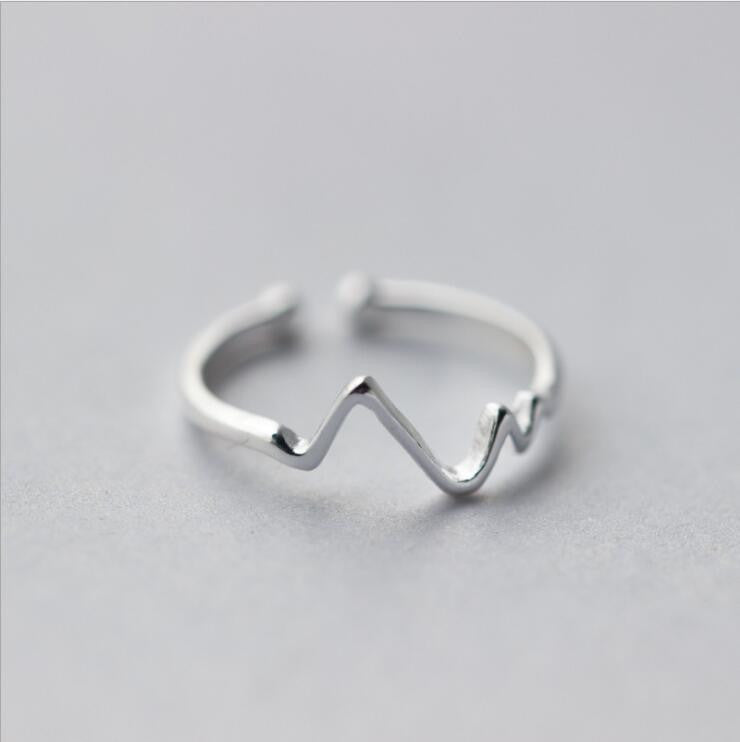 Silver Jewelry ECG or Wave Rings for Girls