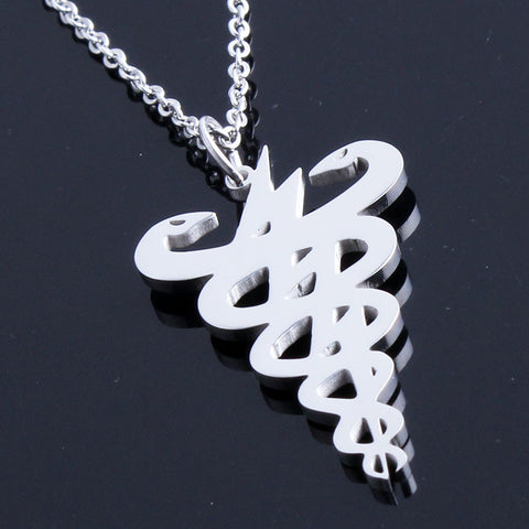 Caduceus Symbol Medical Sterling Silver Chain Necklace