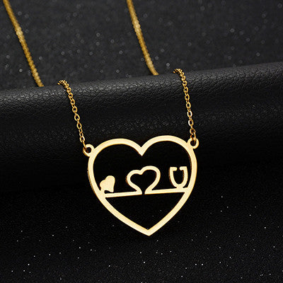 Gold Stethoscope Pendant Heart ECG Heartbeat Necklace