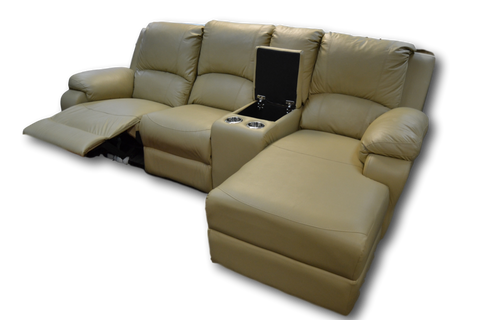 Corner Recliner with storage and cup-holders