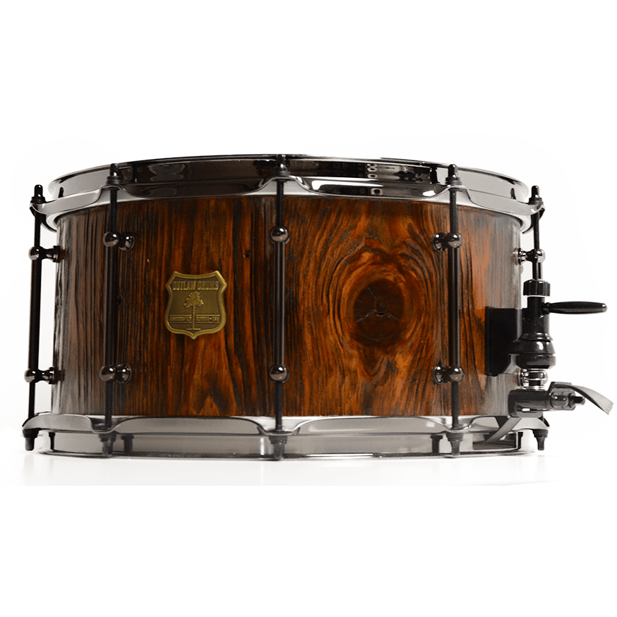Outlaw Drums Heart Pine Deep Weathered Snare Drum