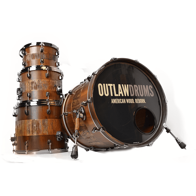 Outlaw Drums Heart Pine / Sapele Solid Wood Drum Kit