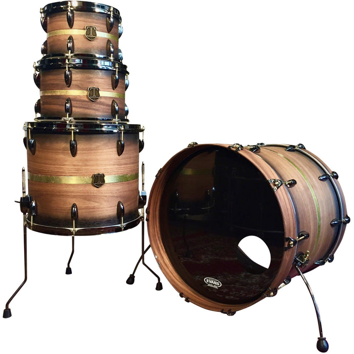 T Berger Drums Mahogany / Walnut / Patina-Brass Drum Set