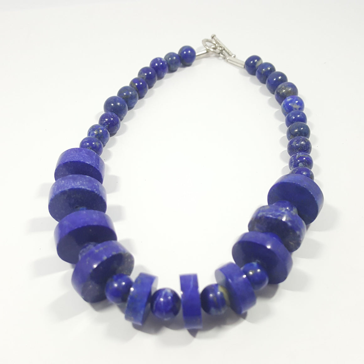 Lapis Lazuli Necklace - Lapis Necklace Disk and Round Beads -372.85 ct