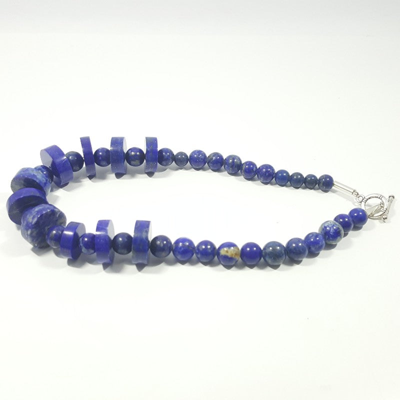 Lapis Lazuli Necklace - Lapis Necklace Disk and Round Beads -387.75 ct