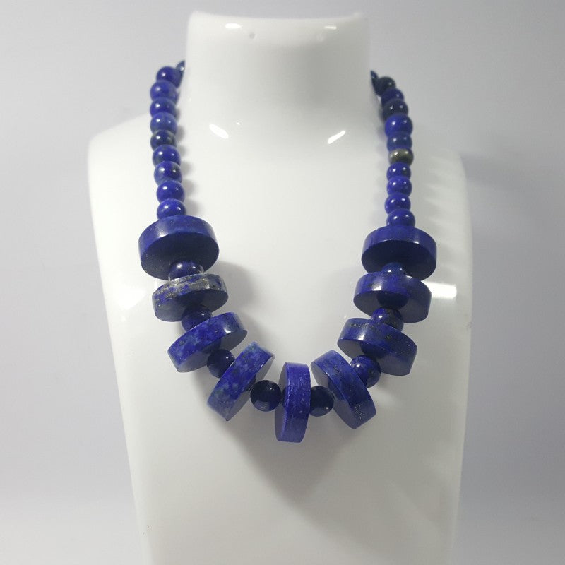 Lapis Lazuli Necklace - Lapis Necklace Disk and Round Beads -425.45 ct