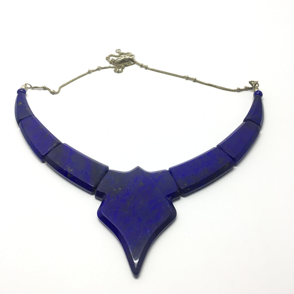 150.5 Carat, Designed Lapis Lazuli Necklace with Metal Chain