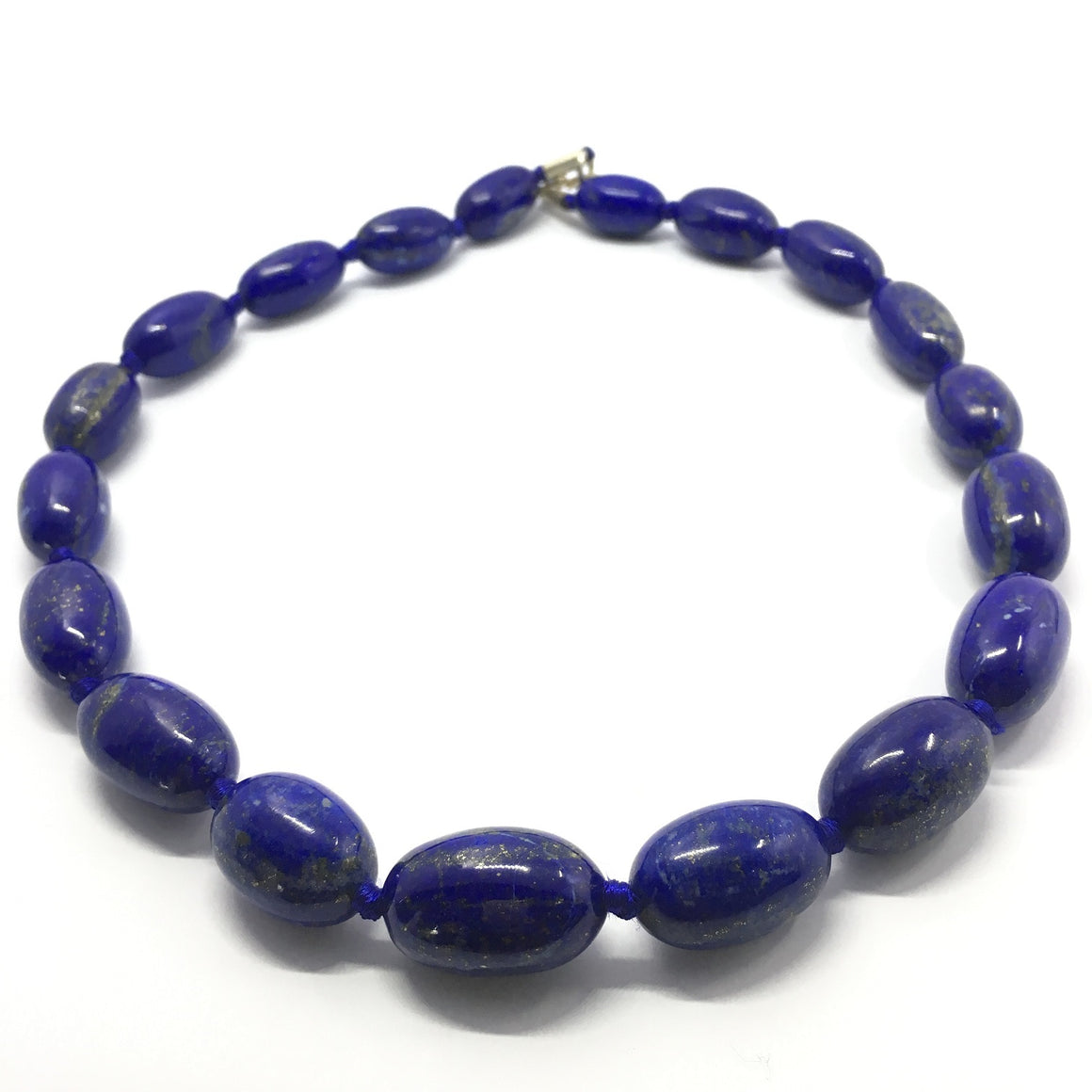 Lapis Lazuli Necklace - Lapis Necklace 9 Oval Beads Necklace- 653.5 ct