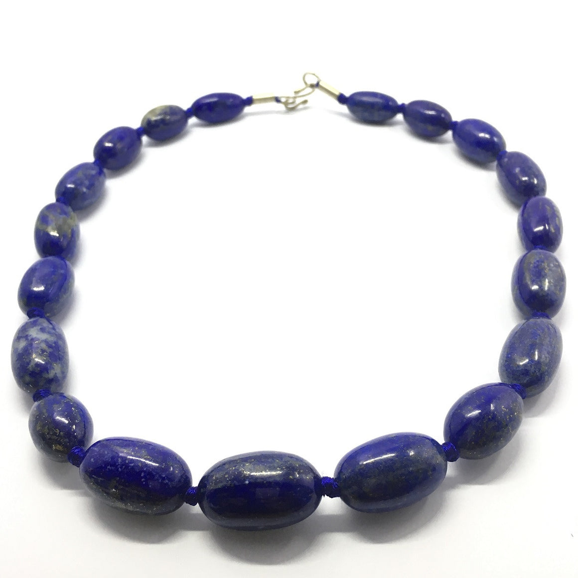 Lapis Lazuli Necklace - Lapis Necklace 19 Oval Beads - 547.0 ct
