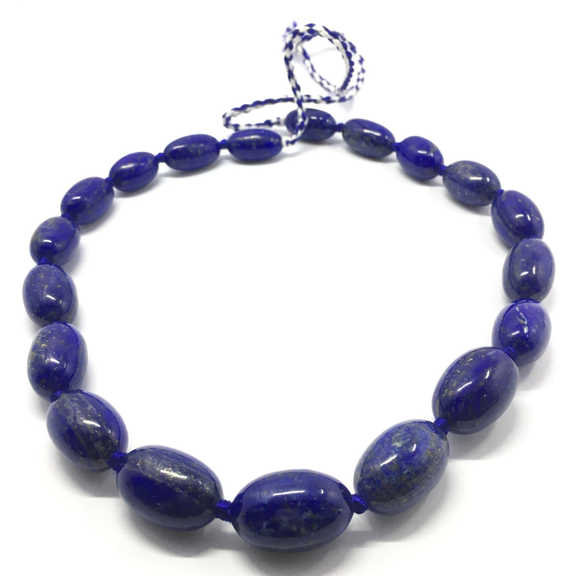 Lapis Lazuli Necklace - Lapis Necklace 19 Oval Beads - 725.5 ct